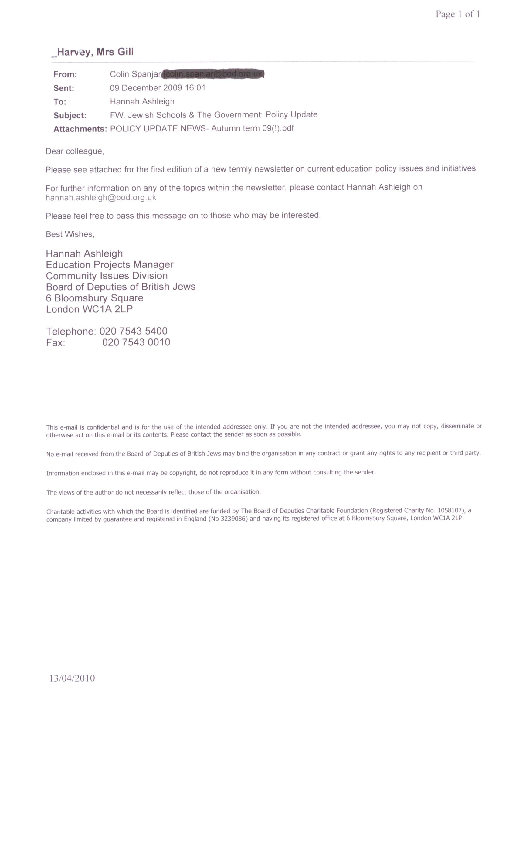 Correspondence - a Freedom of Information request to JFS