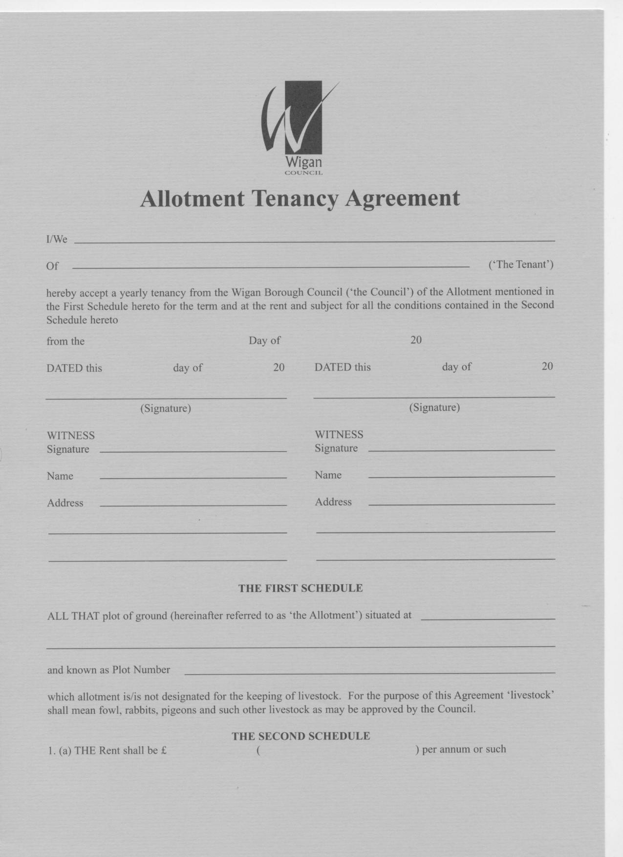 Allotment Tenancy Agreement And Related Costs A Freedom Of